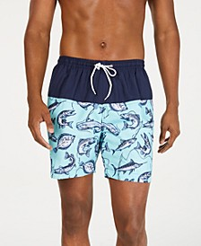 "Men's Marlin Colorblocked Fish-Print 6"" Swim Trunks"