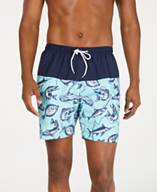 "Trunks Surf & Swim Co. Men's Marlin Colorblocked Fish-Print 6"" Swim Trunks"