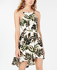 Juniors' Palm-Print High-Low Dress