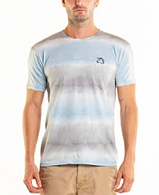 South Sea Unicorn Embroidery Stripe Tie Dye Crewneck Tee