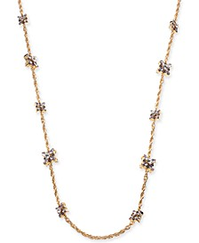 "Gold-Tone Purple Crystal Long Necklace, 42"" + 2"" extender, Created for Macy's"