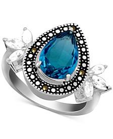 Multi-Stone Teardrop Ring in Fine Silver-Plate