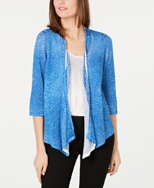 Alfani Printed Open-Front Draped Cardigan, Created for Macy's