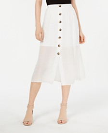 BCX Juniors' Button-Trim Gauze Midi Skirt