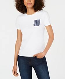 Tommy Hilfiger Cotton Eyelet-Pocket Top, Created for Macy's