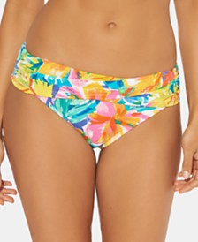 Bleu By Rod Beattie Floral-Print Foldover Bikini Bottoms