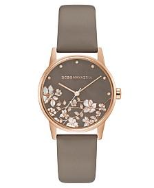 BCBGMAXAZRIA Ladies Round Gray Genuine Leather Strap Watch, 35mm