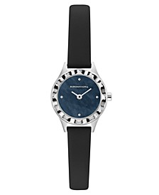 Ladies Round Black Genuine Leather Strap Watch, 24mm