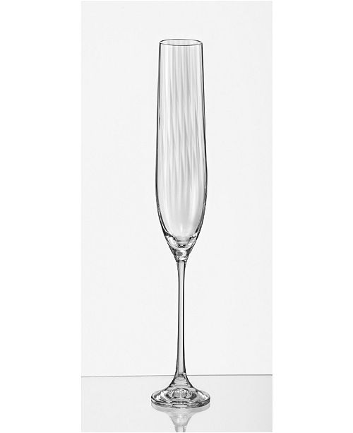 Red Vanilla Viola Optic Fluted Champagne Glass 6.5 Oz, Set of 6