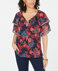 Style & Co Printed Tiered Flutter Sleeve Top, Created for Macy's