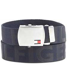 Tommy Hilfiger Men's Plaque Webbing Belt