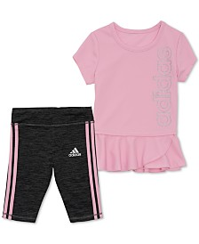 adidas Little Girls 2-Pc. Peplum Top & 3-Stripe Capri Tights Set