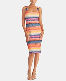 RACHEL Rachel Roy Caroline Striped Sequined Sheath Dress