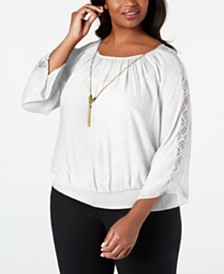 JM Collection Plus Size Crochet-Sleeve Necklace Top, Created for Macy's
