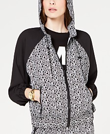 MICHAEL Michael Kors Zip-Front Logo-Print Hooded Jacket