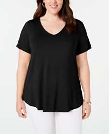 JM Collection Plus Size Crisscross-Back V-Neck Top, Created for Macy's