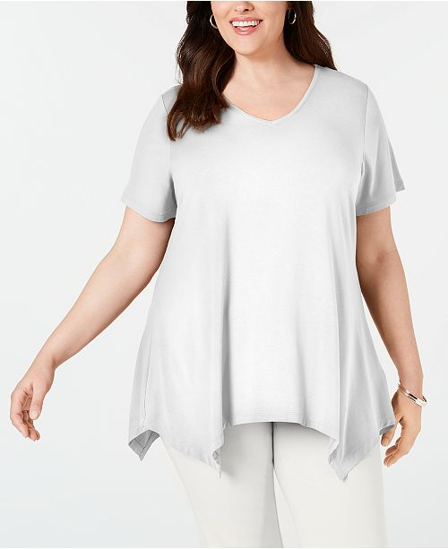 JM Collection Plus Size V-Neck Handkerchief-Hem Top, Created for Macy's