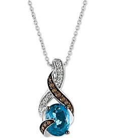 "Le Vian® Deep Blue Sea Topaz (2 ct. t.w.) & Diamond (1/4 ct. t.w.) 18"" Pendant Necklace in 14k White Gold"