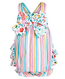 Bonnie Baby Baby Girls Ruffle & Bow Bubble Romper