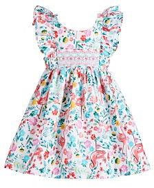 Bonnie Baby Baby Girls Flamingo & Floral-Print Dress