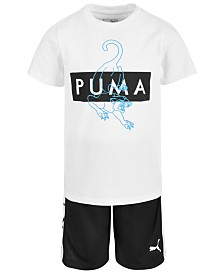 Puma Little Boys 2-Pc. Logo-Print T-Shirt & Shorts Set