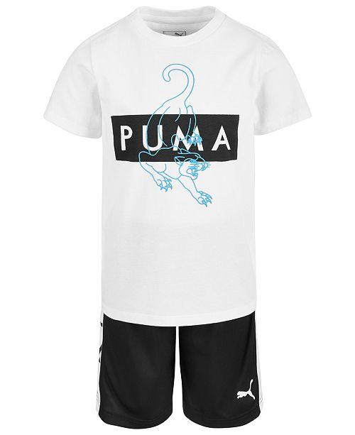 Puma Little Boys 2-Pc. Logo-Print T-Shirt & Shorts Set