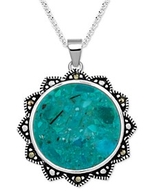 "Reconstituted Turquoise & Marcasite Flower 18"" Pendant Necklace in Fine Silver-Plate"