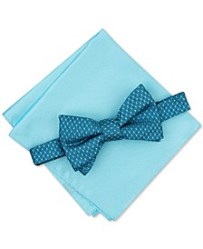 Men's Neat To-Tie Bow Tie & Solid Pocket Square Set, Created for Macy's