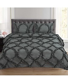 Tatiana Ruched Fancy Ribbed Lattice Queen 3-Pc Duvet Set