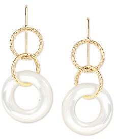 Mother-of-Pearl Drop Earrings in 14k Gold