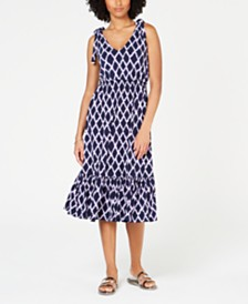 Michael Michael Kors Printed Tie-Shoulder Ruffled Dress, In Regular & Petite