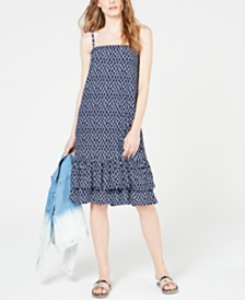 MICHAEL Michael Kors Ikat-Print Smocked Sleeveless Dress