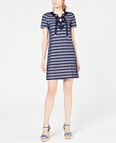 0309cae29d2a MICHAEL Michael Kors Mesh-Stripe Lace-Up Dress