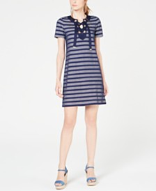 MICHAEL Michael Kors Mesh-Stripe Lace-Up Dress