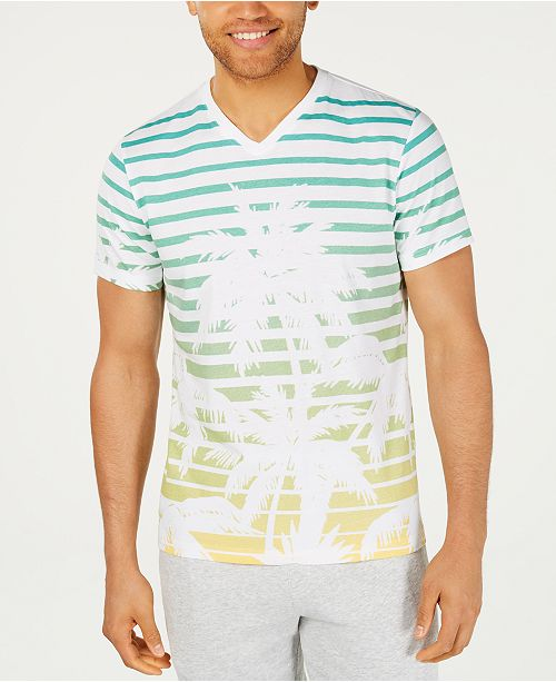 American Rag Men's Striped Palm V-Neck T-Shirt, Created for Macy's