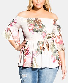 City Chic Trendy Plus Size Paradise Palm Top
