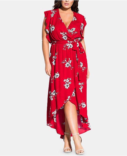 City Chic Trendy Plus Size Floral Love Maxi Dress