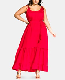 City Chic Trendy Plus Size Tassel-Tie Maxi Dress