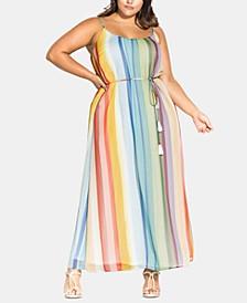 Trendy Plus Size Striped Maxi Dress