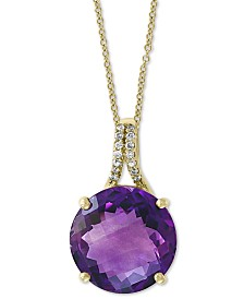 "EFFY® Amethyst (5-1/5 ct. t.w.) & Diamond Accent 18"" Pendant Necklace in 14k Gold"
