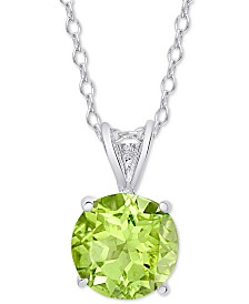 Peridot Solitaire Pendant Necklace (7/8 ct. t.w.) in Sterling Silver