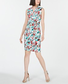 Calvin Klein Embellished Jersey Wrap Dress