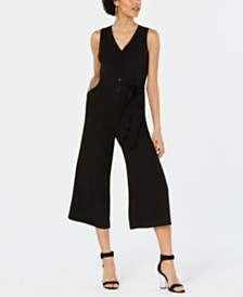 Bar III Sleeveless Crepe Jumpsuit, Created for Macy's