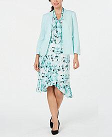 Kasper Open-Front Jacket, Printed Top & Tulip-Hem Skirt