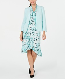 Kasper Open-Front Jacket, Printed Top & Tulip-Hem Skirt