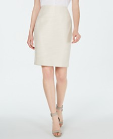 Calvin Klein Metallic-Striped Pencil Skirt