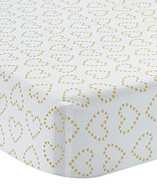 Confetti White with Hearts 100% Cotton Baby Fitted Crib Sheet