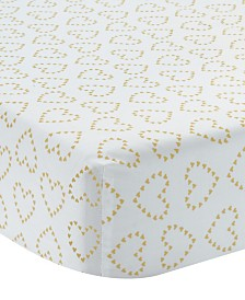 Lambs & Ivy Confetti White with Hearts 100% Cotton Baby Fitted Crib Sheet