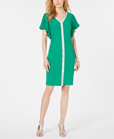 MSK Embellished Flutter-Sleeve Shift Dress