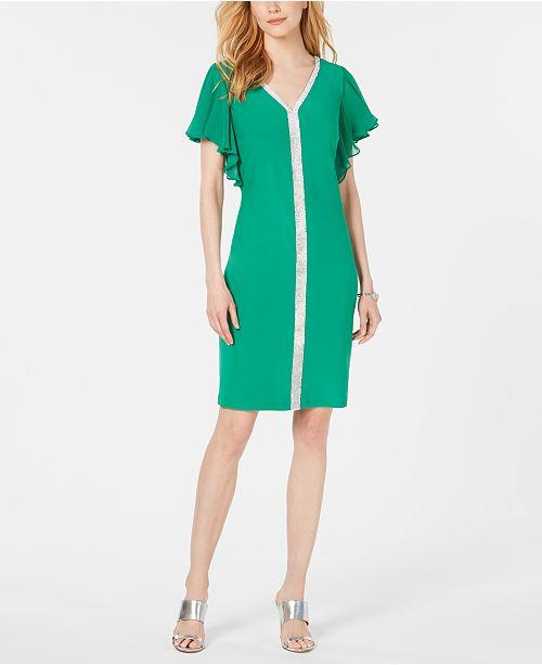 MSK Embellished Flutter-Sleeve Shift Dress